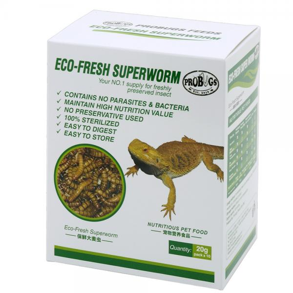 プロバグズ 真空生昆虫 スーパーワーム 1箱(20g×10袋入) PROBUGS ECO-FRESH SUPERWORM