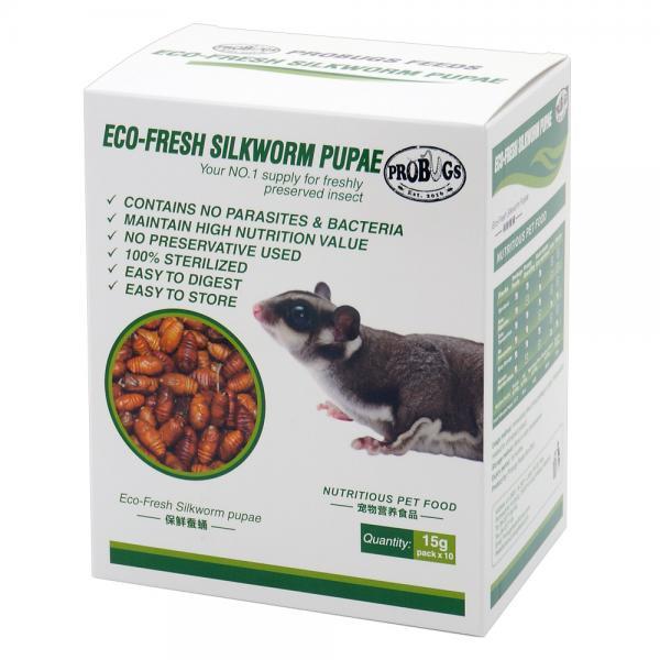 プロバグズ 真空生昆虫 シルクワーム蛹 1箱(15g×10袋入) PROBUGS ECO-FRESHSILKWORM PUPAE