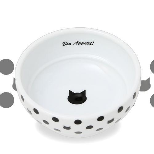 猫壱 ハッピーダイニング フードボウル 水玉 食器