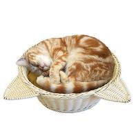 アウトレット品 マルカン 猫鍋 ラタン調ベッド ベージュ 訳あり