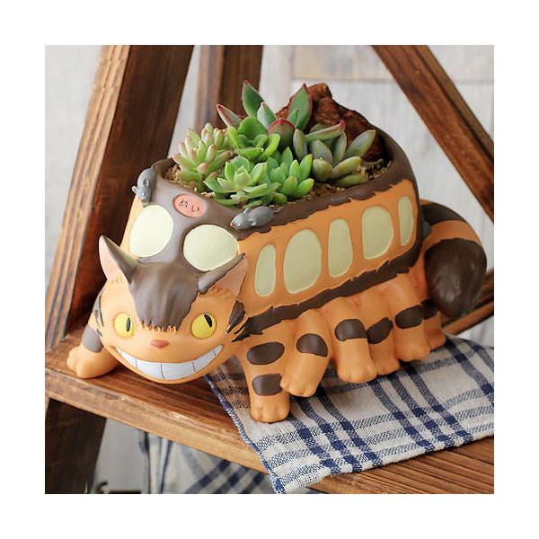 (観葉植物)ジブリプランターの多肉寄せ植え となりのトトロ ネコバスが走る(植え込み完成品)