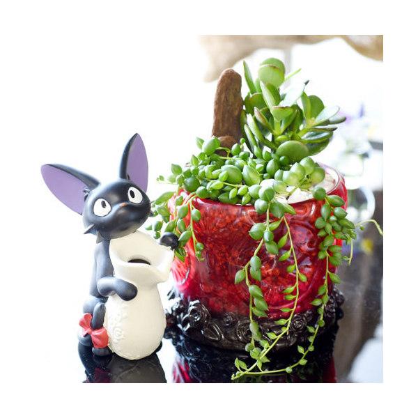 (観葉植物)ジブリプランター 魔女の宅急便 アンティークフラワーグラス グリーンネックレス&金のなる木(植え込み完成品)