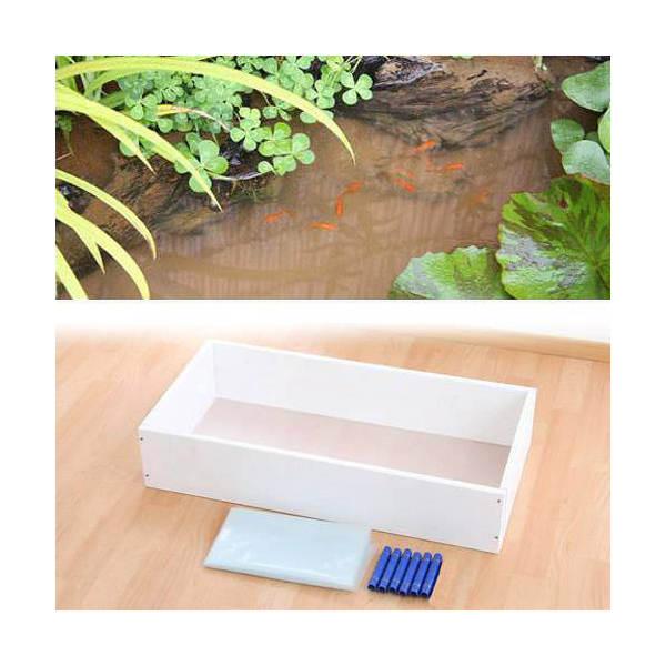 お手軽ビオトープ 池製作キット(W90×D45×H18.5cm) 本体 ホワイト 沖縄別途送料