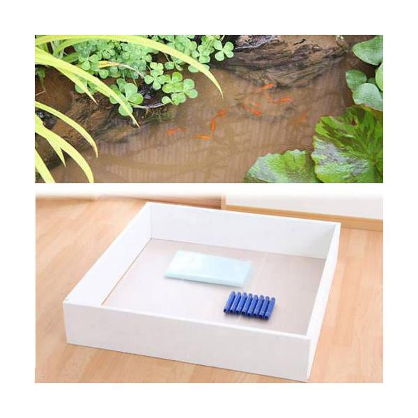 お手軽ビオトープ 池製作キット(W90×D90×H18.5cm) ホワイト 沖縄別途送料