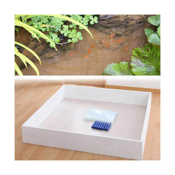 お手軽ビオトープ 池製作キット(W120×D120×H18.5cm) ホワイト 沖縄別途送料