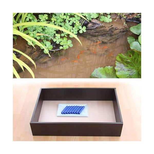 お手軽ビオトープ 池製作キット(W90×D60×H18.5cm) ブラウン 沖縄別途送料