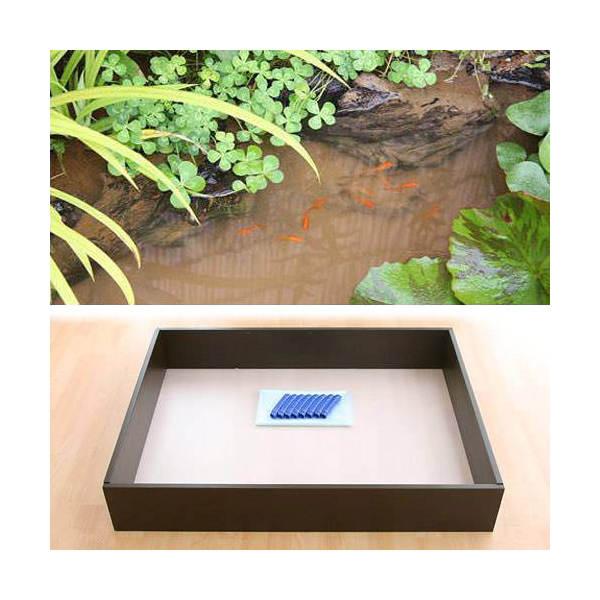 お手軽ビオトープ 池製作キット(W120×D90×H18.5cm) ブラウン 沖縄別途送料
