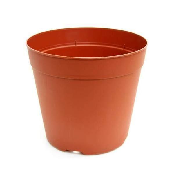 プラポット 20.5cm 茶 穴ありタイプ