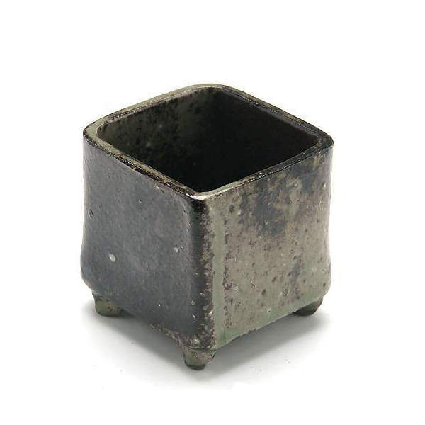 益子焼 苔BOX 小 炭化 四角 鉢底穴あり(W6×D6×H6.5cm) ミニミニ盆栽鉢