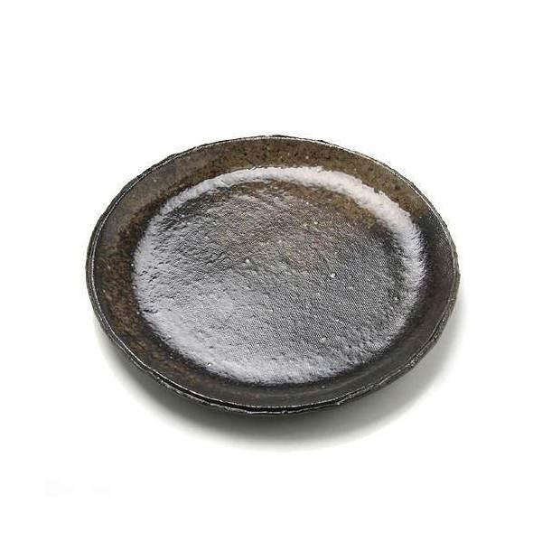 益子焼 苔受皿 浅中 炭化 丸 ミニミニ盆栽鉢
