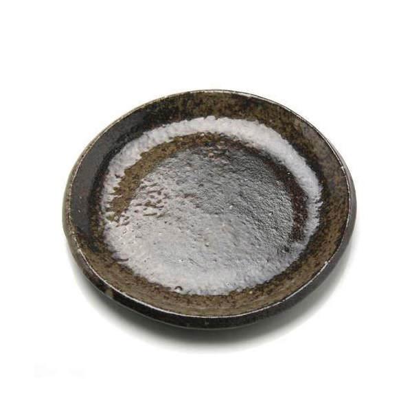 益子焼 苔受皿 浅小 炭化 丸 ミニミニ盆栽鉢