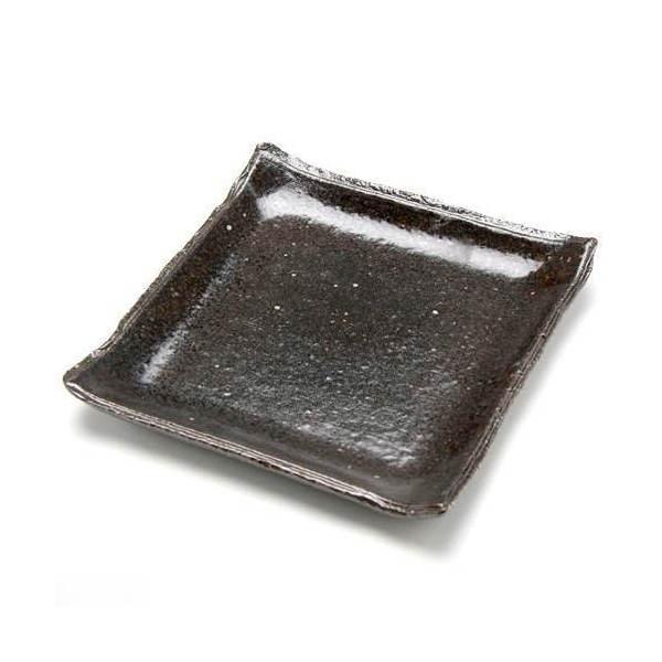 益子焼 苔受皿 浅中 炭化 四角 ミニミニ盆栽鉢