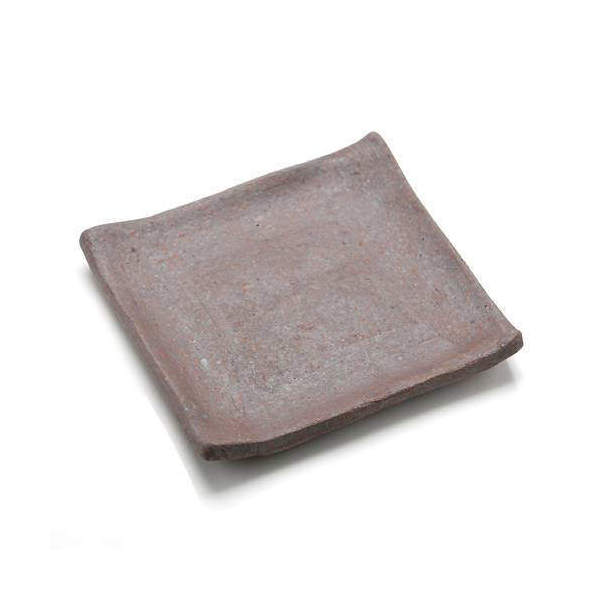 益子焼 苔受皿 浅小 赤楽 四角 ミニミニ盆栽鉢
