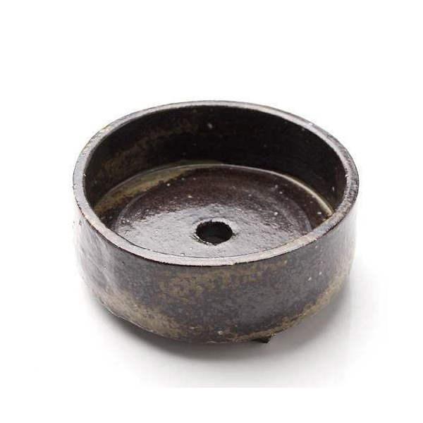 益子焼 苔BOX 大 炭化 丸 ミニミニ盆栽鉢 鉢底穴あり(直径10.5×H4cm)