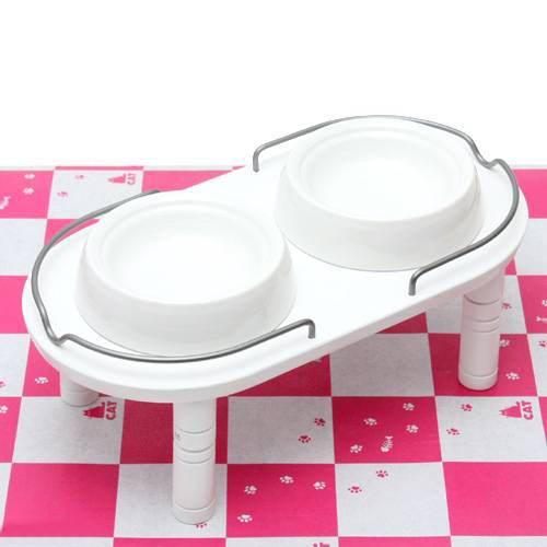リッチェル ペット用 木製テーブル ダブル ホワイト 犬用・猫用食器台 トレー