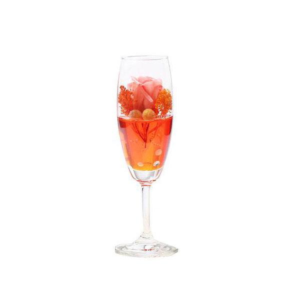 (観葉植物)プリザーブドフラワー ~カクテルグラス フルート オレンジ~