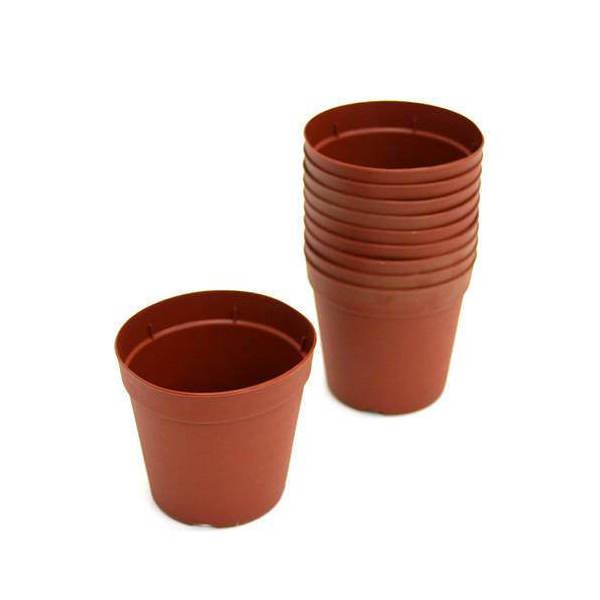プラポット 7.5cm 茶 穴ありタイプ 10個セット
