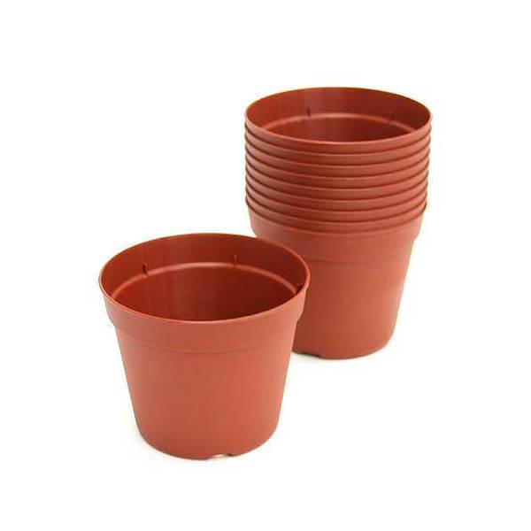 プラポット 10.5cm 茶 穴ありタイプ 10個セット