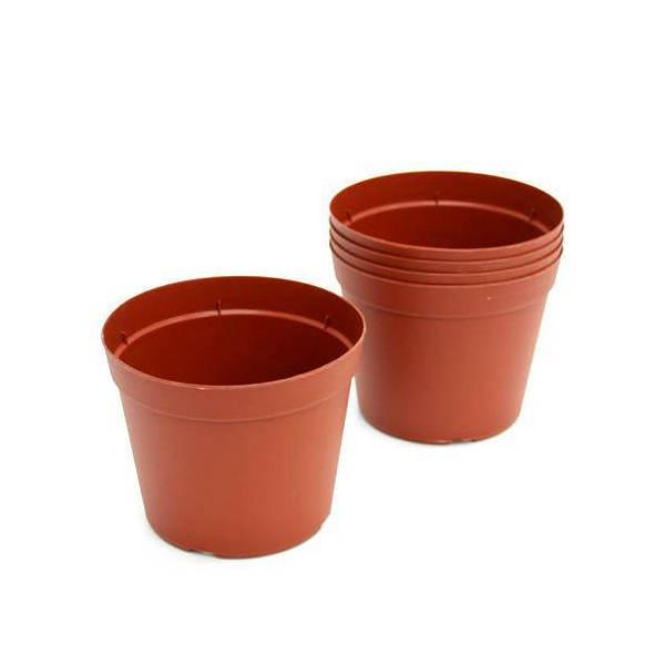 プラポット 12cm 茶 穴ありタイプ 5個セット