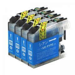 送料無料 LC111C ブラザー互換インクカートリッジ brother LC111シリーズ シアン×4セット
