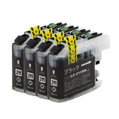 送料無料 LC211BK ブラザー互換インクカートリッジ brother LC211シリーズ ブラック×4セット