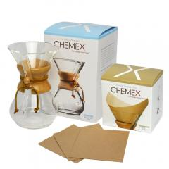 10%OFFクーポン対象商品 ケメックス コーヒーメーカーセット マシンメイド 6カップ用 ドリップ式+フィルターペーパー ナチュラル(無漂白タイプ) CHEMEX クーポンコード:KZUZN2T