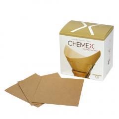 ケメックス  コーヒーメーカー フィルターペーパー ナチュラル(無漂白タイプ) 四角タイプ 100枚入り CHEMEX