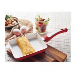 D&S アルミフォージド エッグパン ホワイトレッド [IH対応] フライパン  デザイン アンド スタイル 玉子焼き器