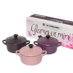 10%OFFクーポン対象商品 ルクルーゼ ミニココット 3個セット(つまみ黒) Glamour ピンク+パープル+ライトパープル Le Creuset キッチン雑貨 クーポンコード:KZUZN2T