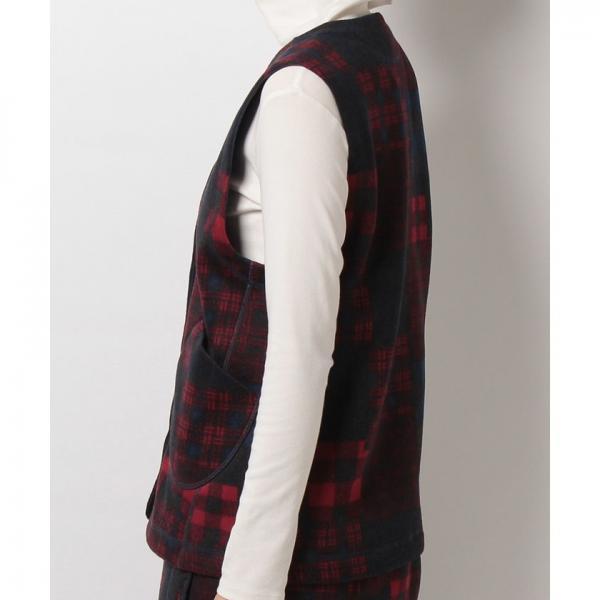 【SALE】Marmot(マーモット)W's Check Patchwork Fleece Vest/ウィメンズチェックパッチワークフリースベスト(17FW)MJF-F7586W※返品交換不可※