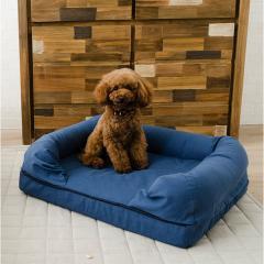 neDOGko (ねどっこ) 送料無料 3Dベッド Mサイズ シニアタイプ 高反発ウレタン 綿100% ペットベッド ワンちゃん 犬 猫 通気性 丸洗い 立ち上がり 介護 カドラー ネイビーブルー