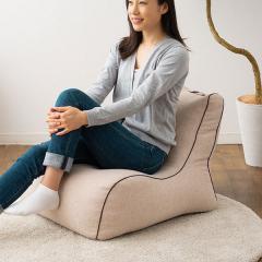 送料無料 ビーズクッション ソファ 一人掛け 日本製 コンパクト 座椅子 フロアソファ ベージュ