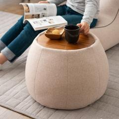 送料無料 サイドテーブル スツール ビーズクッション クッション 日本製 コンパクト 木製天板付き ベージュ