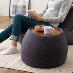 送料無料 サイドテーブル スツール ビーズクッション クッション 日本製 コンパクト 木製天板付き ブラック