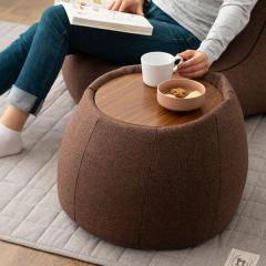 送料無料 サイドテーブル スツール ビーズクッション クッション 日本製 コンパクト 木製天板付き ブラウン