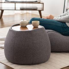 送料無料 サイドテーブル スツール ビーズクッション クッション 日本製 コンパクト 木製天板付き グレー