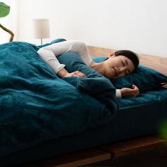 15%OFFクーポン対象商品 10%OFF 送料無料 ベッドカバー4点セット +4℃の暖かさ セミダブル ネイビー 掛け布団カバー ボックスシーツ 枕カバー×2枚 吸湿発熱 あったか 冬 冬用 防寒 洗える フランネル フリース クーポンコード:CKJNNWW