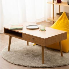 送料無料 ローテーブル オーク しまうテーブル 引き出し付き 長方形 90×45×40cm 北欧 収納 コンパクト 省スペース 引越し 新生活