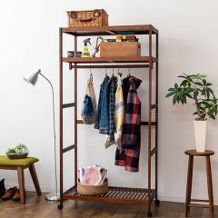 アウトレット 29%OFF 送料無料 ウッドクローゼット 洋服棚 ワードロープ 棚付き 収納 木製 スリム ダークブラウン ワゴンセール