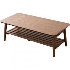 【Walka】棚付き折りたたみテーブル 長方形 ウォルナット