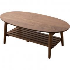 【Walka】棚付き折りたたみテーブル オーバル ウォルナット