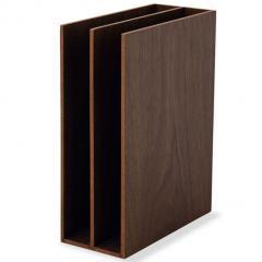 ブックスタンド ファイルスタンド 2連 レタースタンド 本立て 木製 デスク 小物収納 小物収納ケース 小物入れ デスク周り デザイン おしゃれ 書類収納 整理整頓 新生活 一人暮らし 北欧 ウォールナット