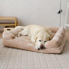 neDOGko (ねどっこ) 送料無料 ペットベッド Mサイズ 犬用ベッド ペット用 ふわふわ 超ボリューム カウチベッド カバーを外して洗える パピー 成犬 シニア 老犬 犬用 ワンちゃん 固綿 フランネル ゆったり 洗濯 カドラー 介護 ベージュ