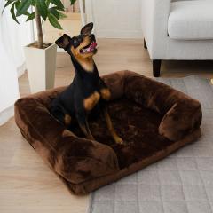 neDOGko (ねどっこ) 送料無料 ペットベッド Mサイズ 犬用ベッド ペット用 ふわふわ 超ボリューム カウチベッド カバーを外して洗える パピー 成犬 シニア 老犬 犬用 ワンちゃん 固綿 フランネル ゆったり 洗濯 カドラー 介護 ブラウン