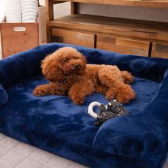 neDOGko (ねどっこ) 送料無料 ペットベッド Lサイズ 犬用ベッド ペット用 ふわふわ 超ボリューム カウチベッド カバーを外して洗える パピー 成犬 シニア 老犬 犬用 ワンちゃん 固綿 フランネル ゆったり 洗濯 カドラー 介護 ネイビー