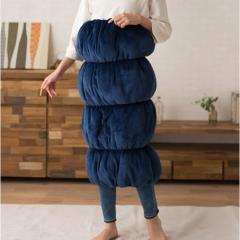 ロールクッション 着る毛布 エムモグ 4連モデル ネイビー あったか 防寒グッズ ペットの防寒にも