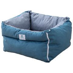 neDOGko (ねどっこ) 送料無料 ドライブベッド Lサイズ ストライプブルー ドライブボックス ペットベッド 犬用ベッド 犬 犬用 車 車載 旅行 お出かけ ドライブ 洗える