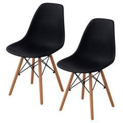 送料無料 イームズチェア ダイニングチェア 2脚セット チェア 椅子 イームズ 北欧 木脚 オニキスブラック