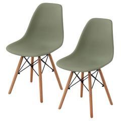 送料無料 イームズチェア ダイニングチェア 2脚セット チェア 椅子 イームズ 北欧 木脚 オリーブグリーン