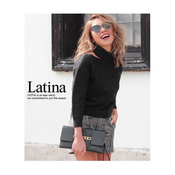 【Latina】モヘアタッチデザインオープンニットトップス